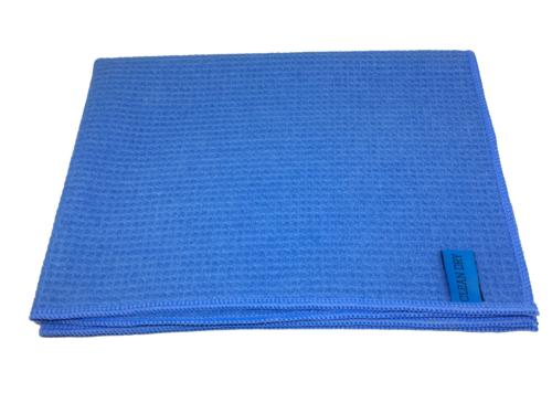 Clean dry droogdoek blauw opgevouwen