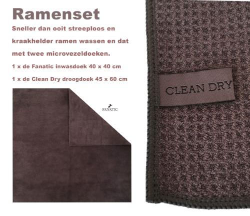 Raamdoeken grijs Clean Dry 2 stuks fantac grijs beperkt op voorraad